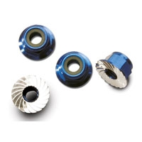 Traxxas Nuts aluminum flanged serrated 4mm blue-anodized 4pk 1747R