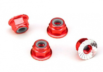 Traxxas Nuts aluminum flanged serrated 4mm red-anodized 4 stk 1747A