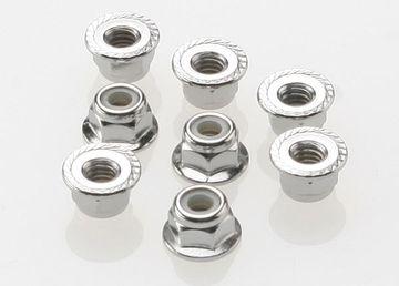 Traxxas Nuts 4mm flanged nylon locking steel serrated 8 stk 3647