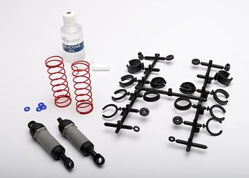 Traxxas Ultra Shocks gray long complete w/spring pre-load spacers & springs 2 stk 3760A