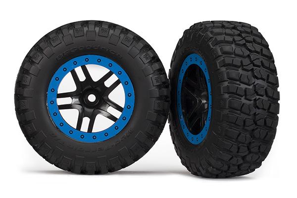 Traxxas Tire & wheel assembled glued SCT Split-Spoke black blue beadlock wheels BFGoodrich® Mud-Terrain™ 5885A
