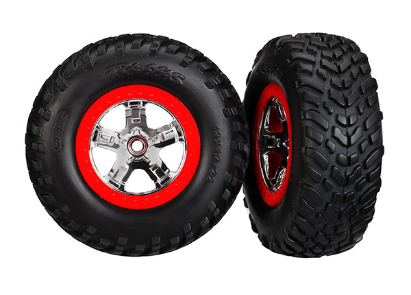 Traxxas Tires & wheels assembled glued SCT chrome wheels red beadlock style dual profile 2.2 outer 3.0 inner 5888