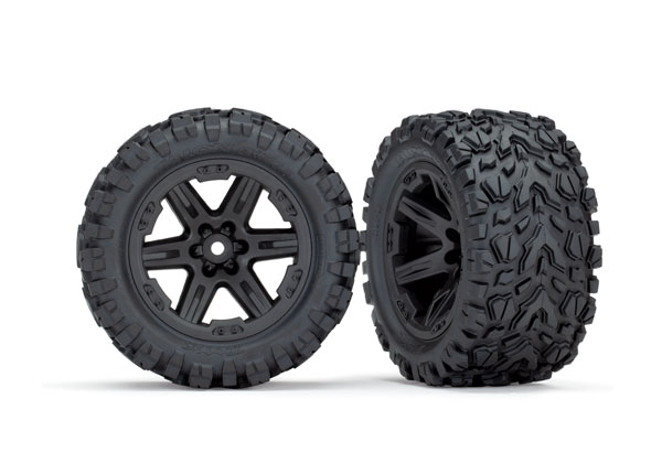 Traxxas Tires & wheels assembled glued 2.8 RXT black wheels Talon Extreme tires foam inserts 4WD electric front/rear 2WD electric front only 2 stk TSM rated 6773